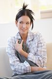 Cheerful woman in pyjama Royalty Free Stock Photos