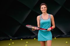 Cheerful woman with racquet Royalty Free Stock Photography