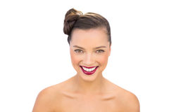 Cheerful woman with red lips Royalty Free Stock Photos