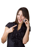 Cheerful woman said by mobile phone Stock Image