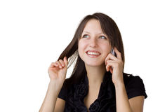 Cheerful woman said by mobile phone Royalty Free Stock Photos