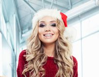 Cheerful woman Santa portrait. Christmas and New Year party.  royalty free stock photos