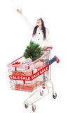 Cheerful woman shop for Christmas sale isolated Royalty Free Stock Image