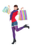 Cheerful woman with shopping bags Stock Image