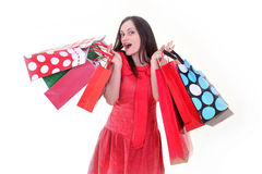 Cheerful woman with shopping bags. A cheerful woman is standing while holding shopping bags Royalty Free Stock Photo
