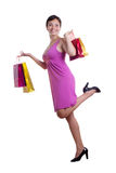 Cheerful woman with shopping bags Royalty Free Stock Images