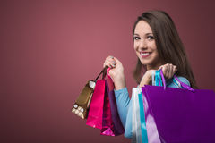Cheerful woman shopping Stock Photo