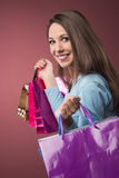 Cheerful woman shopping Royalty Free Stock Photography