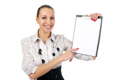 Cheerful woman shows a blank Stock Photography
