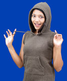 Cheerful woman with sweatshirt Royalty Free Stock Images