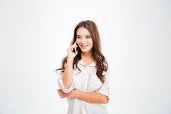 Cheerful woman talking on the mobile phone Royalty Free Stock Photography