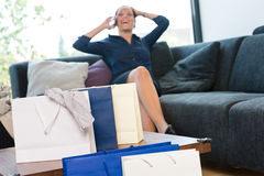 Cheerful woman talking phone shopping bags shopaholic Royalty Free Stock Photography