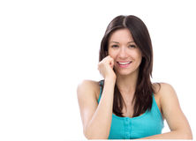Cheerful woman talking on the phone and smiling Royalty Free Stock Photos