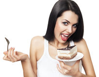 Cheerful woman with testy cake. Cheerful woman with cake on white background Royalty Free Stock Photography