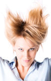 Cheerful woman with turn up hair Royalty Free Stock Photos
