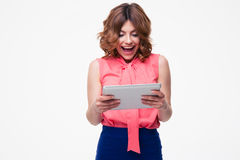 Cheerful woman using tablet computer Royalty Free Stock Photo