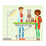 Cheerful woman and veterinary doctor examining dog in vet clinic. Colorful cartoon character Illustration Royalty Free Stock Photos