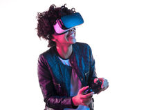 Cheerful woman with VR equipment Royalty Free Stock Photos