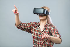 Cheerful woman with vr headset Royalty Free Stock Photography