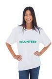 Cheerful woman wearing volunteer tshirt Stock Photography