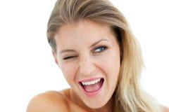 Cheerful Woman winking Royalty Free Stock Photos