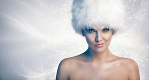 Cheerful woman with winter hat stock photos