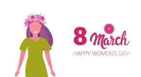 Cheerful woman in wreath of flowers happy women day 8 march holiday celebration concept female character portrait white. Background horizontal greeting card stock illustration