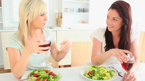 Cheerful women having dinner together Stock Photography