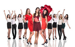 Cheerful women holding heart Stock Image