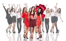 Cheerful women holding heart Stock Image