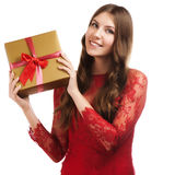 Cheerful women with a present Royalty Free Stock Photos