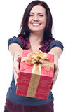Cheerful women with a present Royalty Free Stock Image