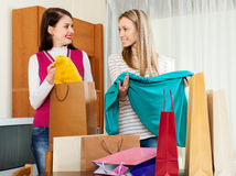 Cheerful women with shopping bags Royalty Free Stock Photo