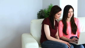 Cheerful women using a laptop. On the couch stock video