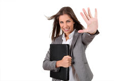 Cheerful working girl Royalty Free Stock Image