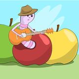 Cheerful worm crawled out of the apple and plays guitar. Illustration Royalty Free Stock Image