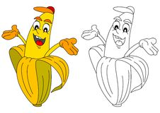 Cheerful yellow banana like a coloring book for young children Stock Images