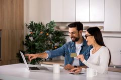 Cheerful yougn couple using their laptop for financial planning royalty free stock photo