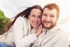 Cheerful young adult couple Royalty Free Stock Image