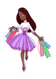 Cheerful young African American girl goes shopping with bags in Stock Photo