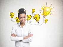 Cheerful young African American woman, ideas stock images