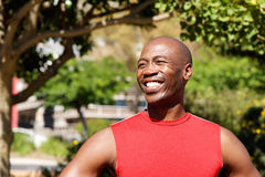 Cheerful young african male athlete at the park Royalty Free Stock Photo