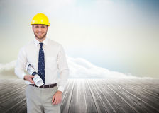 Cheerful young architect posing Stock Photos