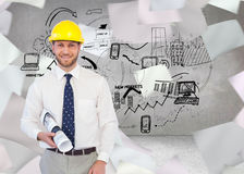 Cheerful young architect posing Stock Photo