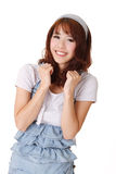 Cheerful young Asian girl. Half length closeup portrait on white background Royalty Free Stock Photo