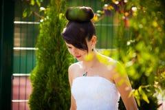 Cheerful young beautiful cute stylish bride, wedding celebration Royalty Free Stock Image