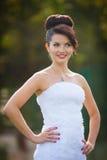 Cheerful young beautiful cute stylish bride, wedding celebration Royalty Free Stock Photos