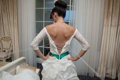 Cheerful young beautiful cute stylish bride, wedding celebration Stock Images