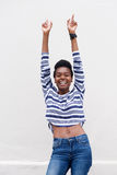 Cheerful young black woman pointing fingers up Royalty Free Stock Photography