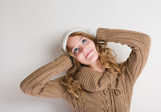 Cheerful young blond in winter outfit. Stock Photography